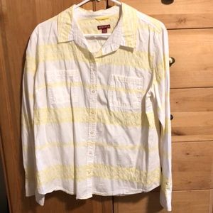 Yellow & white button up top